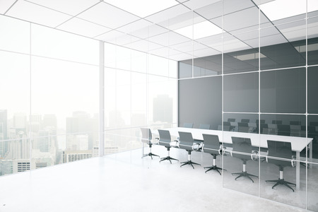 design office: Side view of modern conference room with blank grey wall, concrete floor, city view and daylight. Mock up, 3D Rendering