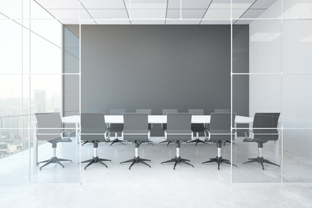 concrete floor: Front view of modern conference room with blank grey wall, concrete floor, city view and daylight. Mock up, 3D Rendering