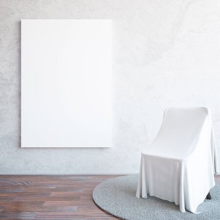 carpet floor: Interior with blank poster on concrete wall, wooden floor, chair covered with cloth and carpet. Mock up, 3D Rendering Stock Photo