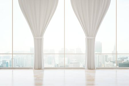 Empty classic interior with panoramic city view, wooden floor and curtains. 3D Rendering Stock Photo