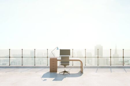 view: Abstract roof office with bright city view. 3D Rendering