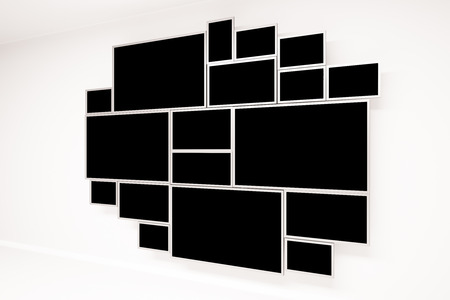apartment: Concrete wall with creative framed black window. Side view, 3D Rendering