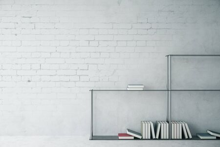 blank wall: White brick interior with modern bookshelf and blank wall. Mock up, 3D Rendering