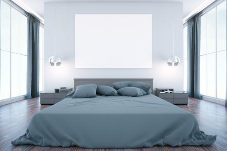 Interni della camera da letto con mobili cartellone bianco vista
