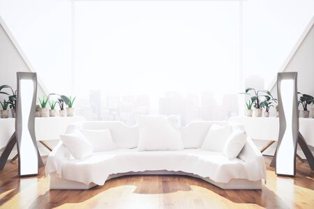 interior window: Bright interior with white couch ande pillows, lamps, plants and panoramic window with city view. 3D Rendering