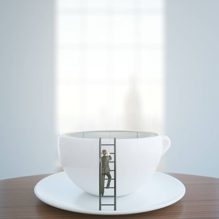 big break: Tiny businessman climbing abstract ladder leaning on coffee cup. Addiction concept. 3D Rendering
