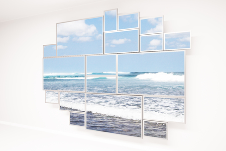 beach window: Concrete wall with creative framed window and beach view. 3D Rendering Stock Photo