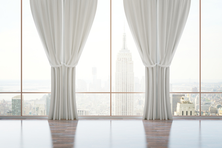 Empty classic room interior with panoramic city view, wooden floor and curtains. 3D Rendering