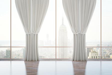 Lege classic kamer interieur met een panoramisch uitzicht op de stad, houten vloer en gordijnen. 3D Rendering