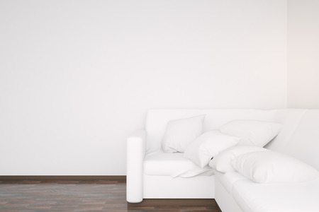 blank wall: Side view of white couch in interior with wooden floor and blank wall. Mock up, 3D Rendering Stock Photo