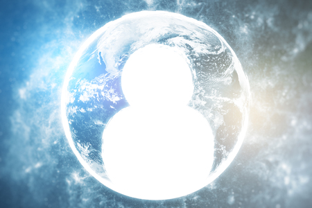 close icon: Close up of abstract globe with human icon. HR concept. Stock Photo