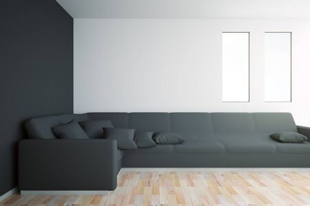black floor: Black interior with large sofa, windows, wooden floor and blank wall. Mock up, 3D Rendering Stock Photo