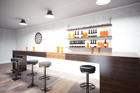 Bar Interior With Wooden Counter Stools And Shelves On Brick