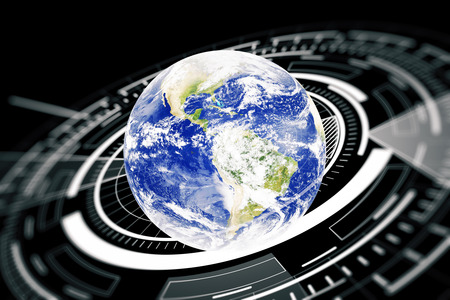 Terrestrial globe with abstract digital circle. Global business technologies concept. Stock Photo