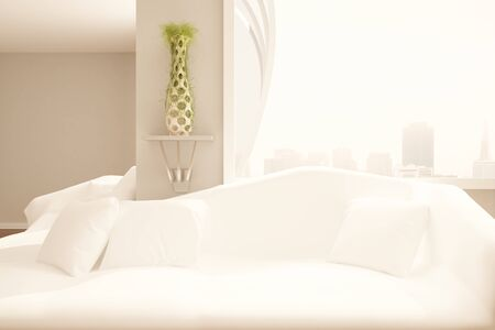 filtered: Modern room with white couch and pillows, decorative plant, blank wall, New York city view and sunlight. Comfrot concept. Mock up, 3D Rendering Stock Photo