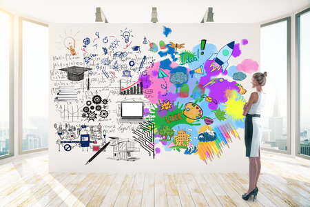 right on: Attractive businesswoman in clean room with city view looking at whiteboard with colorful sketch. Creative and analytical thinking concept. 3D Rendering Stock Photo