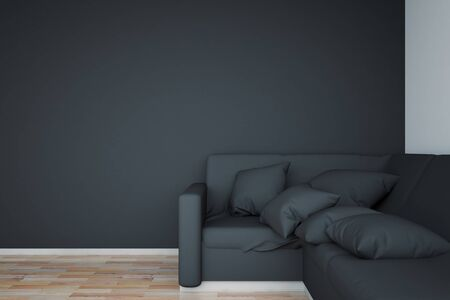 black floor: Side view of black couch in interior with wooden floor and blank wall. Mock up, 3D Rendering Stock Photo