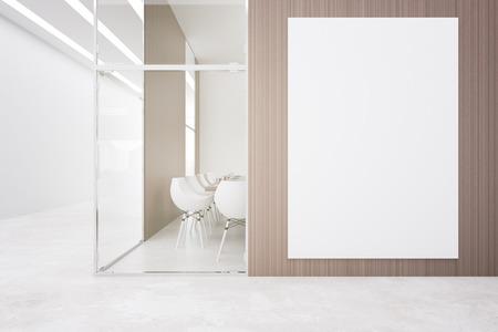 Light conference room with blank billboard on wooden wall. Negotiations concept. Mock up, 3D Rendering