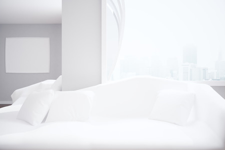 white interior: Interior with white sofa and cushions, blank picture frame and New York city view. Filtered image. Mock up, 3D Rendering