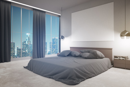 Side View Of Modern Bedroom Interior With Furniture, Blank Whiteboard And  Night City View.