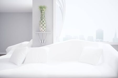 filtered: Modern interior with white couch and cushions, decorative plant, blank wall, New York city view and daylight. Comfrot concept. Mock up, 3D Rendering