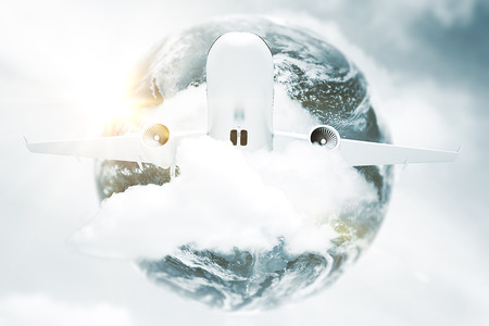 Taking off plane in clouds on earth background. Tourism concept. 3D Rendering. Elements of this image furnished by NASA