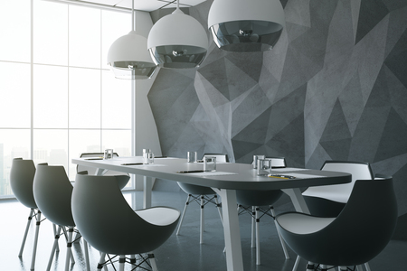 view: Side view of dark meeting room with table, chairs, abstract polygonal walls, several lamps and window with city view. 3D Rendering Stock Photo