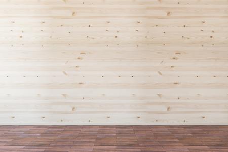 Vooraanzicht van het interieur met lege houten wand en donkerder vloer. Mock-up, 3D-rendering