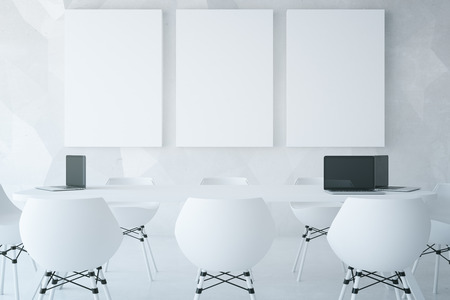 furniture design: Modern light conference room with equipment and blank posters. Mock up, 3D Rendering Stock Photo