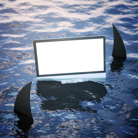 ripple: Blank white computer screen on sea surface with shark fins. Mock up, 3D Rendering. Risk and advertisement concept