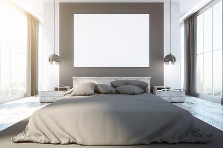 Eigentijds slaapkamerbinnenland met meubilair, leeg whiteboard, stadsmening en daglicht. Vooraanzicht, bespotten, 3D-weergave