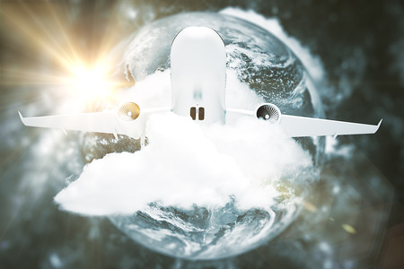 Taking off plane in clouds on earth background. Vacation concept. 3D Rendering. Stock Photo