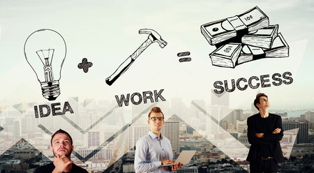 equals: Idea plus work equals success. Businessmen on abstract city background. Double exposure Stock Photo