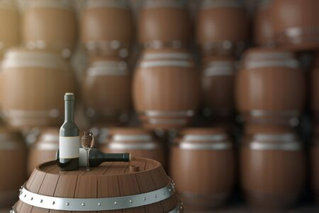 winemaking: Close up of dark wooden barrel with wine bottles in cellar. Alcohol concept. 3D Rendering