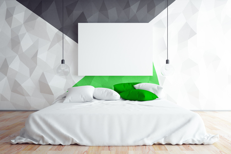 Contemporary Bedroom With Polygonal Wall And Blank Whiteboard. Hotel  Concept. Mock Up, 3D