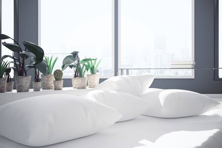 nobody real: Close up of cushions and decorative plants on white couch. Window with city view background. Comfort concept. 3D Rendering Stock Photo