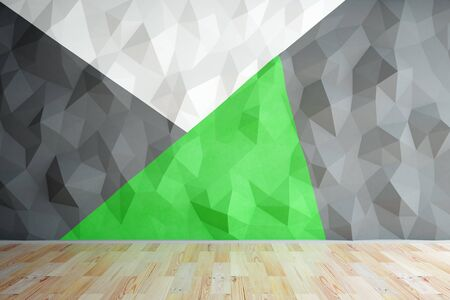 black floor: Front view of interior with black, green and white polygonal wall and wooden floor. Mock up, 3D Rendering Stock Photo