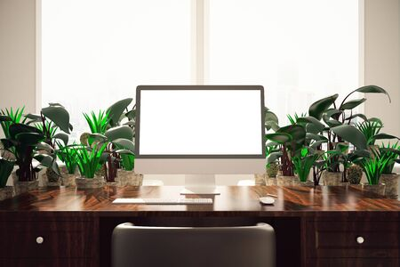 apartment: Close up of wooden desktop with blank white pc screen and decorative plants. Mock up, 3D Rendering Stock Photo