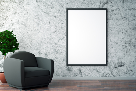 decorative wall: Front view of interior with blank picture frame on textured concrete wall, black armchair and decorative tree. Gallery concept. Mock up, 3D Rendering Stock Photo