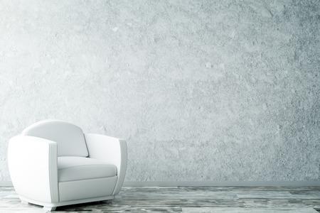 Innenraum mit leerer strukturierter Betonmauer, hölzernem Fußboden und weißem Lehnsessel. Kopieren Sie Platz, 3D-Rendering