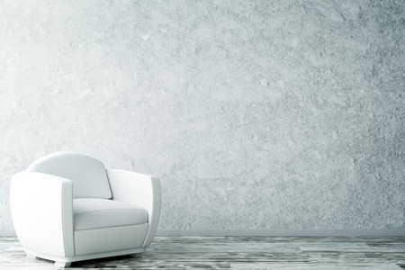 Interior with empty textured concrete wall, wooden floor and white armchair. Copy space, 3D Rendering