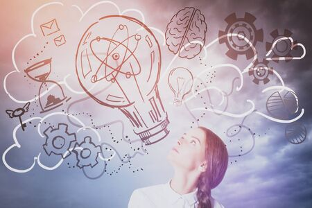 idea sketch: Pretty caucasian lady looking up at abstract lamp, cogs and brain sketch. Sky background. Creative idea concept Stock Photo