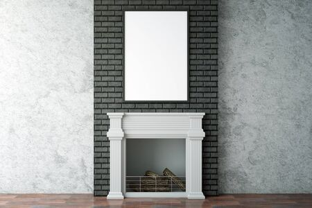 cozy: Clean interior with fireplace and blank picture frame. Mock up, 3D Rendering Stock Photo