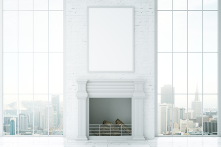 Front view of bright interior with fireplace, blank picture frame and city view. Mock up, 3D Rendering Stock Photo