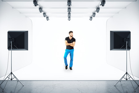 Handsome european man posing in photo studio. 3D Rendering