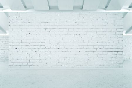 nobody real: Blank brick wall in concrete interior. Mock up, 3D Rendering