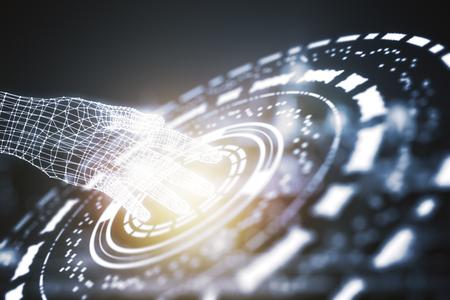 conceito: Mão digital humana tocando padrão redondo abstrato. Conceito de robótica. Renderização em 3D