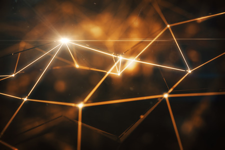 Abstract connected points forming polygonal pyramids on bright amber background. Close up, Tech concept. 3D Rendering