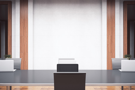 business meeting computer: Front view of modern meeting room with furniture and empty conrete wall. Mock up, 3D Rendering