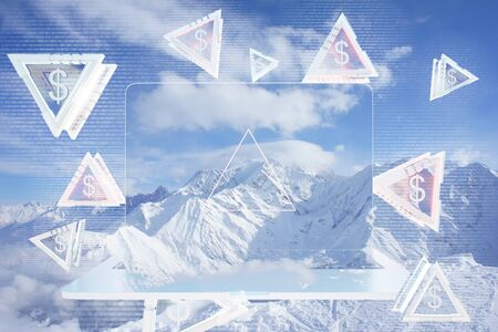 wealth concept: Close up of abstract transparent laptop and triangular pieces with dollar signs on winter landscape background. Wealth concept. 3D Rendering